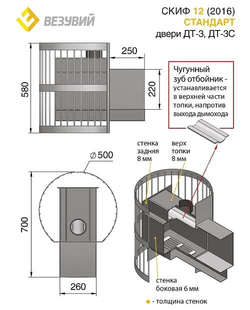 Банная печь «Везувий Скиф Стандарт 12» (ДТ-3) 2016