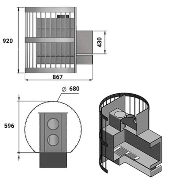 Банная печь «Везувий Скиф Стандарт 38» (ДТК-2) 2016