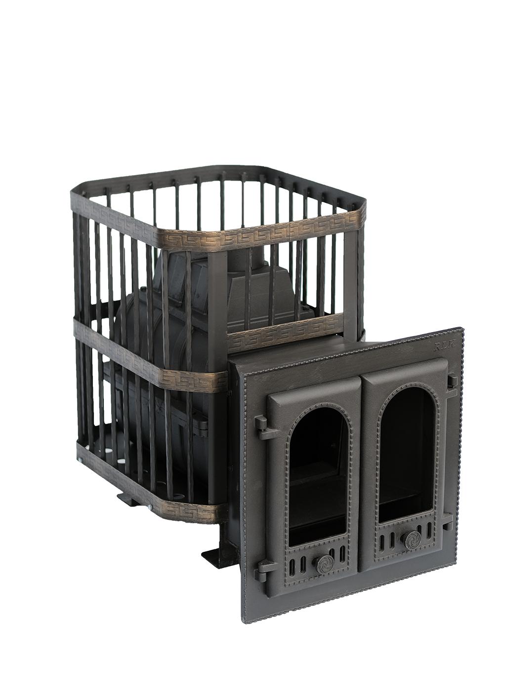 """Печь банная чугунная """"Сибирь-24"""" с двухстворчатой каминной дверцей (сетка)"""