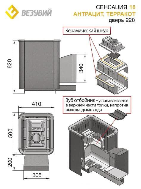Банная печь чугунная «Везувий Сенсация 16» (220) антрацит