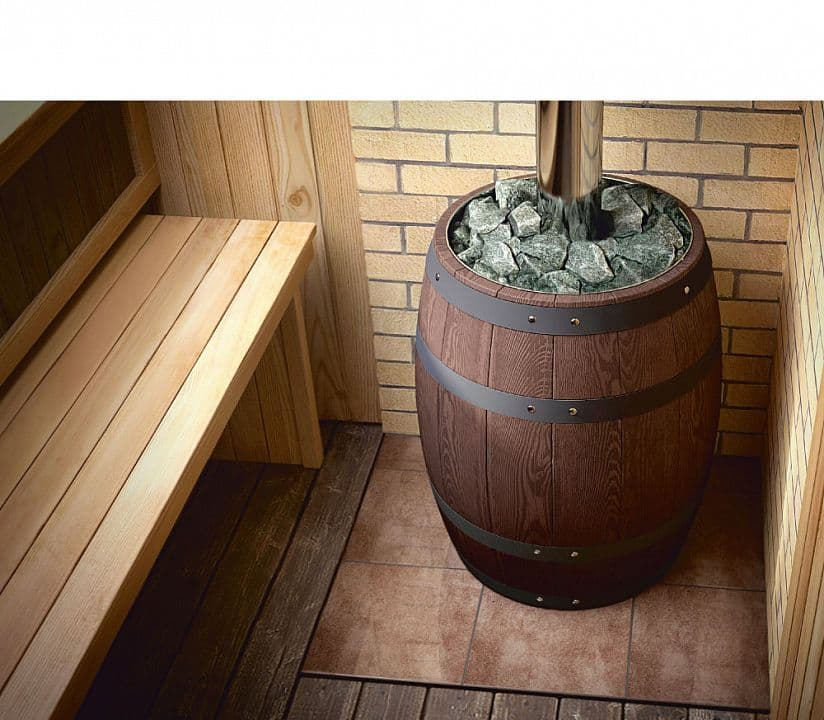 Банная печь «TMF Вариата Баррель Inox витра» палисандр