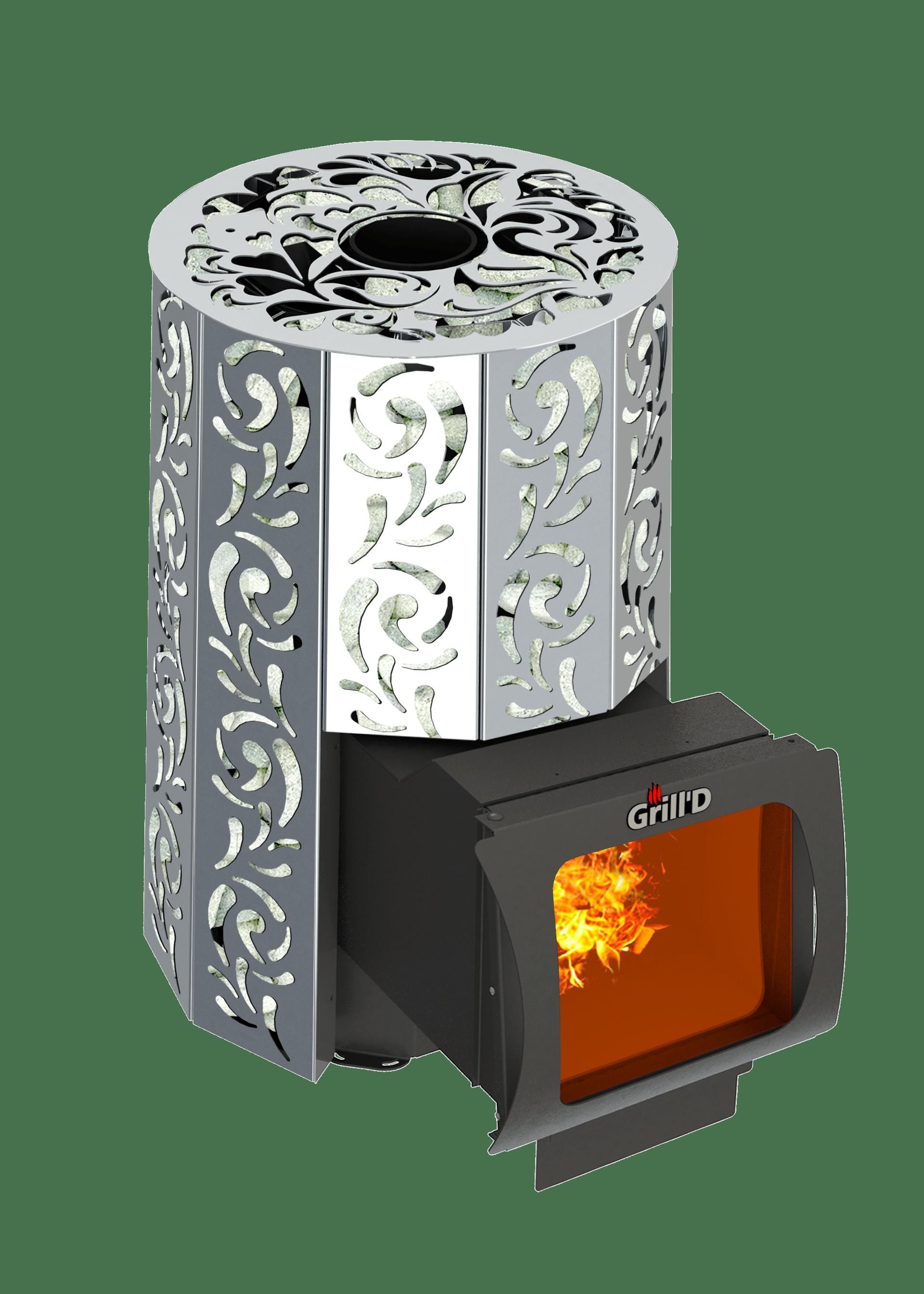 Банная печь Grill'D Violet Steel Long Window Max (Жадеит 100 кг)
