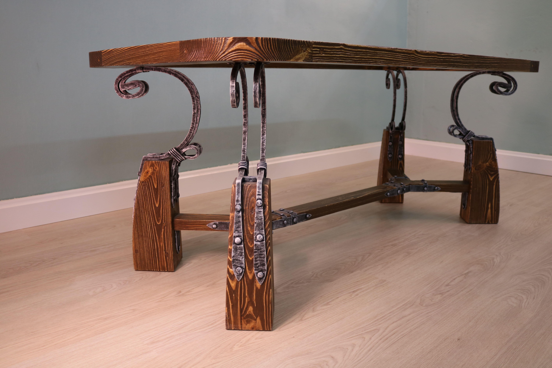 Стол журнальный со стеклом (удлиненный)