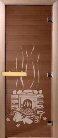 Дверь 1900х700 стекло бронза с рисунком «Банный день»