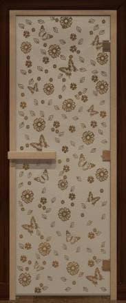Дверь 1900х700 стекло бронза матовая с рисунком «Весна цветы»