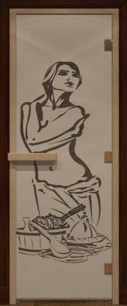 Дверь 1900х700 стекло черный жемчуг матовое с рисунком «Искушение»