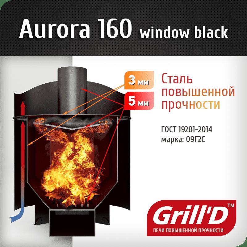 Банная печь Grill'D Aurora 160 Window