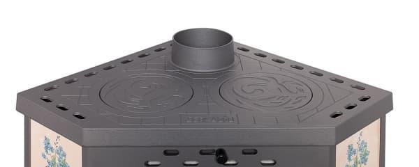 Печь-камин «ЭкоКамин Бавария» угловая с плитой, незабудка