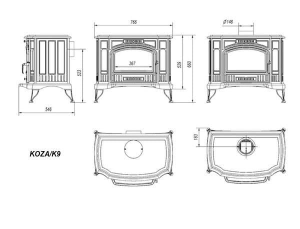 Печь-камин чугунная Kratki Koza K9 (термостат)
