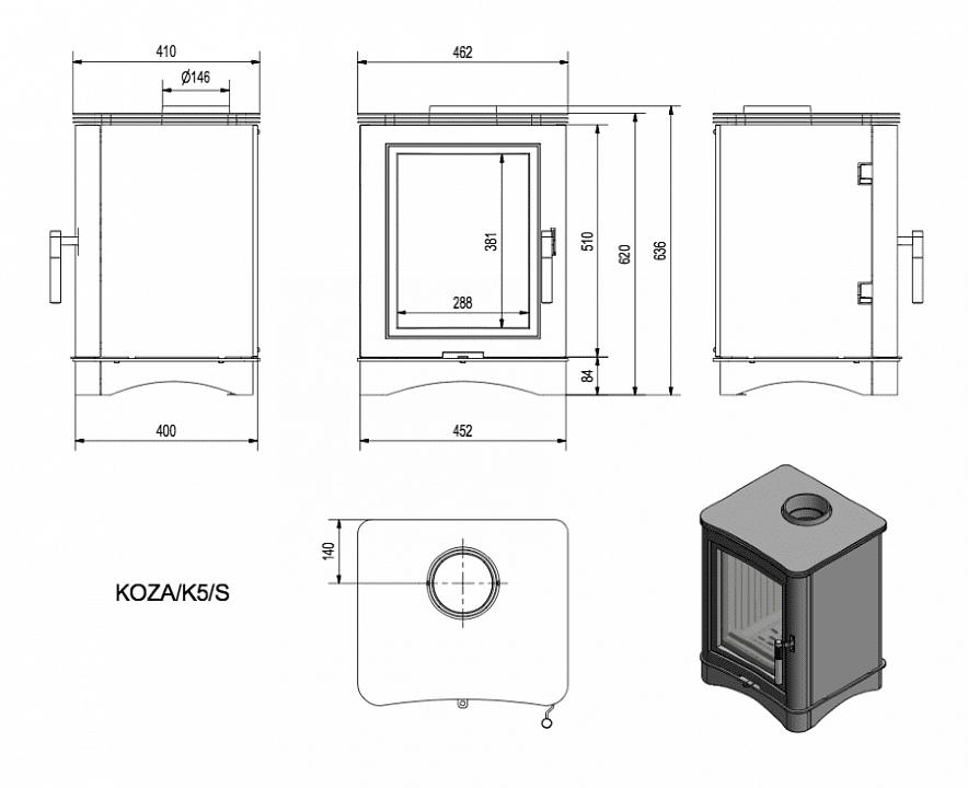 Печь-камин Kratki Koza K5/S (сталь)