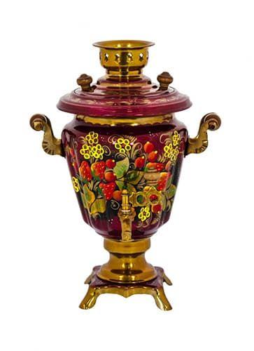 Самовар электрический 3 л, Клубника с желтыми цветочками на красном, конус