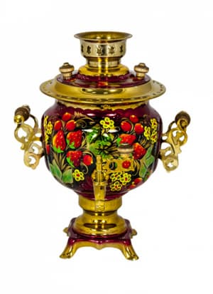 Самовар электрический 3 л, Клубника с желтыми цветочками на красном, овал