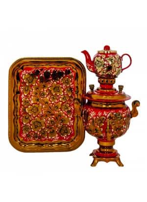 Самовар электрический 3 л в наборе, Хохлома, Золотые цветы на красном фоне, овал
