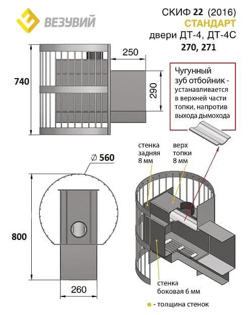 Банная печь «Везувий Скиф Стандарт 22» (ДТ-4С) 2016