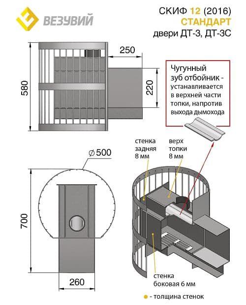 Банная печь «Везувий Скиф Стандарт 12» (ДТ-3С) 2016