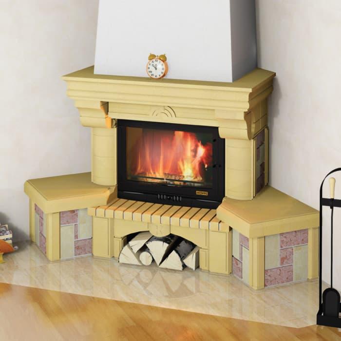 Каминная облицовка «Мета Элегия 700 Рустик» угловая, серия «Музыка огня»