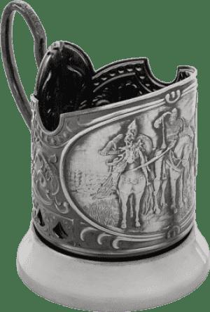 """Подстаканник никелированный с чернью """"Три Богатыря"""""""