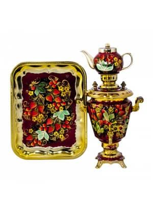 Самовар электрический 3 л в наборе, Клубника с желтыми цветочками на красном фоне, конус