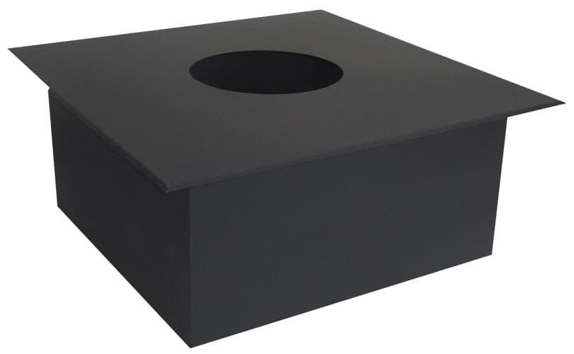 Проходной узел КПД d 280, 500х500 мм, 0,7 мм черный