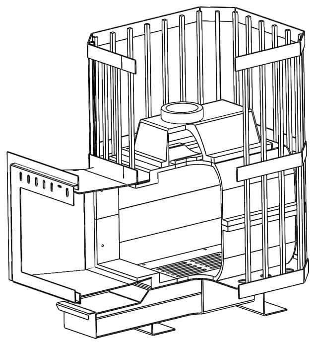 """Печь банная чугунная """"Сибирь-24"""". Панорамная дверца (сетка)"""