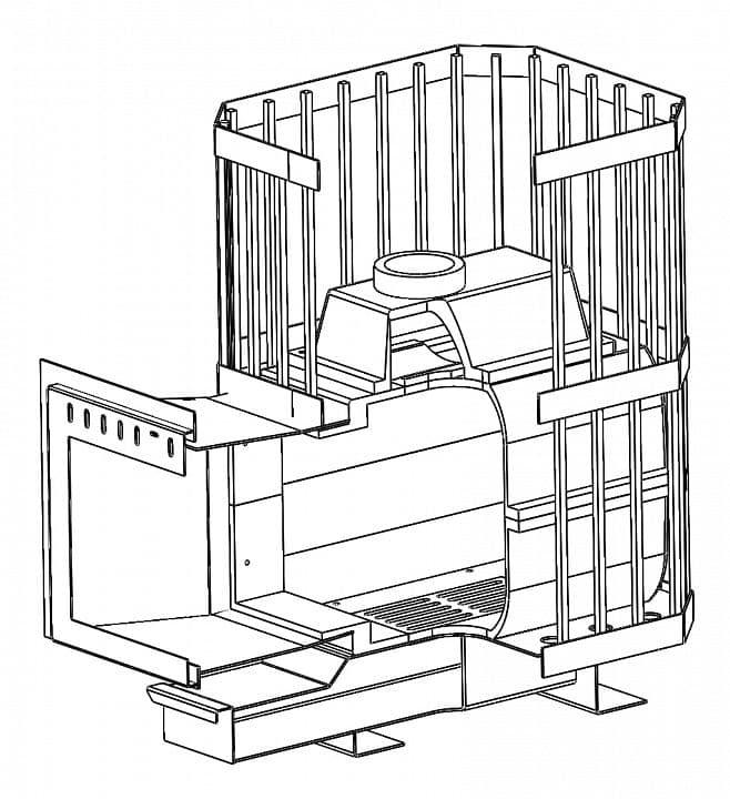 Банная печь чугунная «НМК Сибирь-18» чугунная дверца