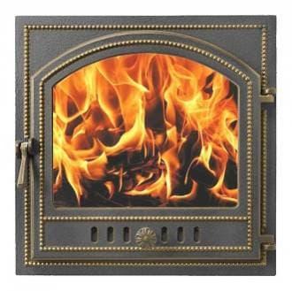 Дверка каминная «Везувий 205» стекло, герметичная, бронза