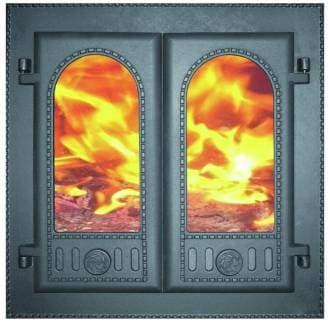 Дверка каминная двухстворчатая крашеная «Литком» 410х410 со стеклом ДК-6С RLK 8415