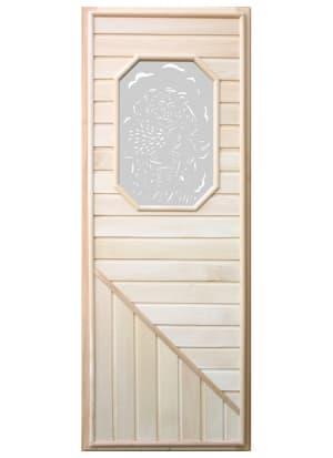 Дверь с восьмиугольной стеклянной вставкой с сюжетом