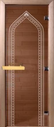 Дверь 1900х700 стекло бронза с рисунком «Восточная арка»