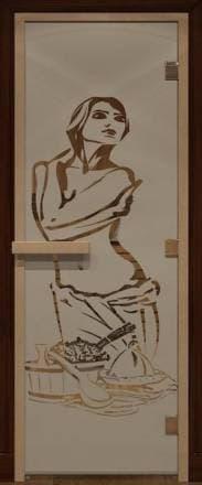 Дверь 1900х700 стекло сатин с рисунком «Искушение»