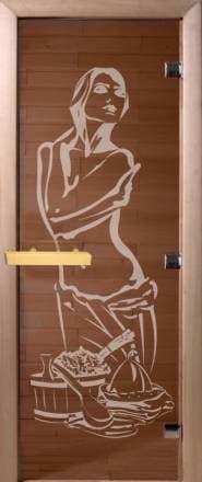 Дверь 1900х700 стекло бронза с рисунком «Искушение»