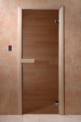 Дверь 1900х700 стекло бронза 6 мм, 2 петли, коробка хвоя