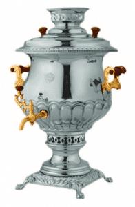 Самовар (С.2001/2) угольный 5,5л (Никель+золото)