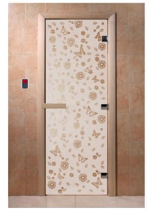 """Дверь """"Цветы и бабочки сатин"""""""