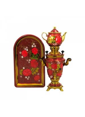 Самовар электрический 1,5 л в наборе, Рябина с беленькими цветочками на красном фоне