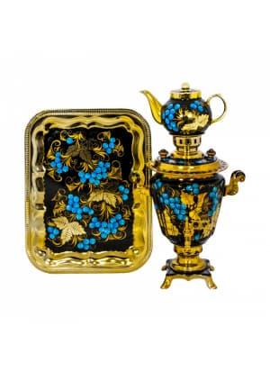 Самовар электрический 3 л в наборе, Клен золотой с голубикой на черном фоне, конус