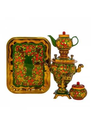 Самовар электрический 3 л в наборе, Хохлома, Морошка с клубникой на зеленом, груша (4 предмета)