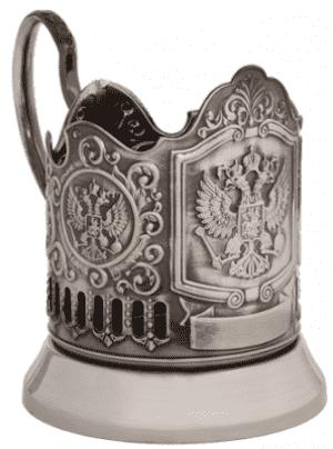 """Подстаканник никелированный с чернью """"Герб РФ"""""""
