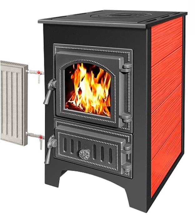 Печь-камин «Везувий ПК-01» (270) с плитой и теплообменником, красная