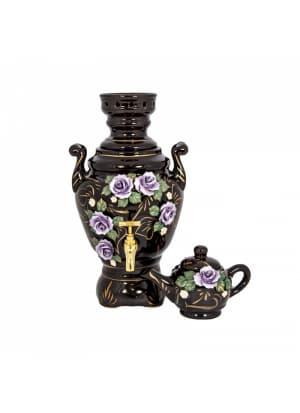 Самовар электрический Роза фиолетовая на темно-коричневом, лепка, керамический (4 л и 0,5 л)