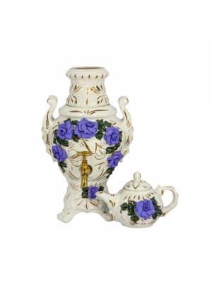 Самовар электрический Царский, фиолетовая роза, лепка, керамический (4 л и 0,5 л)