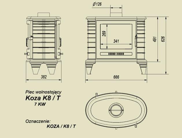 Печь-камин чугунная Kratki Koza K8T (сквозная)