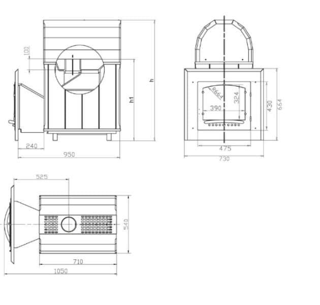 Банная печь ВВД «Калита М» арочная в змеевике с закрытой каменкой