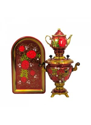 Самовар электрический 2 л в наборе, Рябина с белыми цветочками на красном фоне