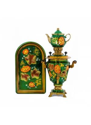 Самовар электрический 3 л в наборе, Рябина желтая с кленовым листом на зеленом фоне, конус