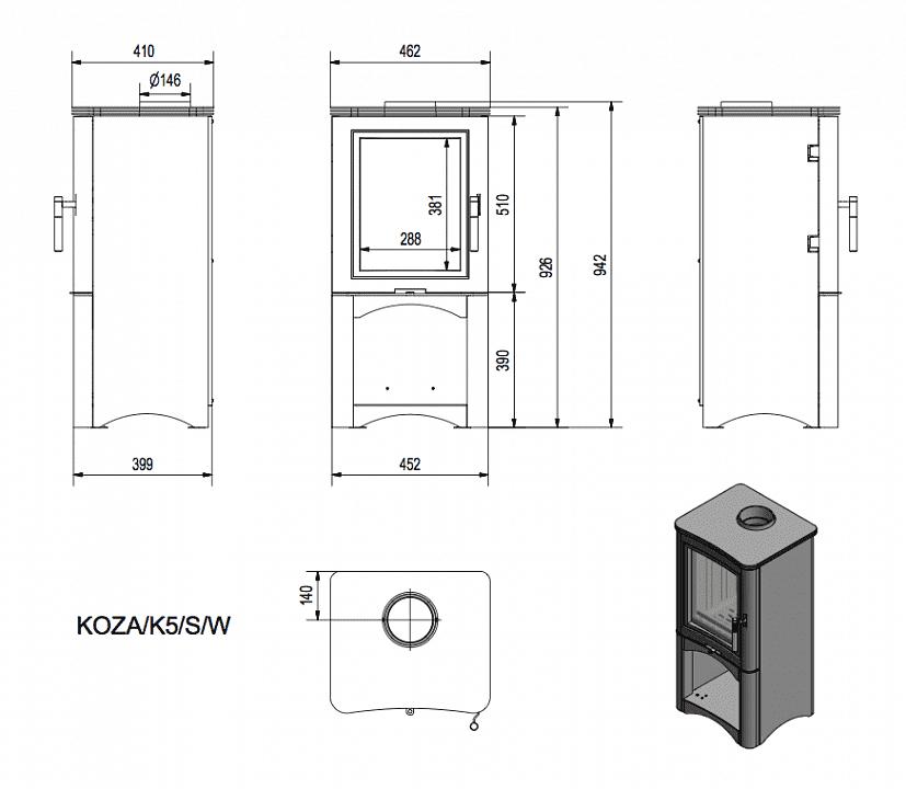 Печь-камин Kratki Koza K5/S/W