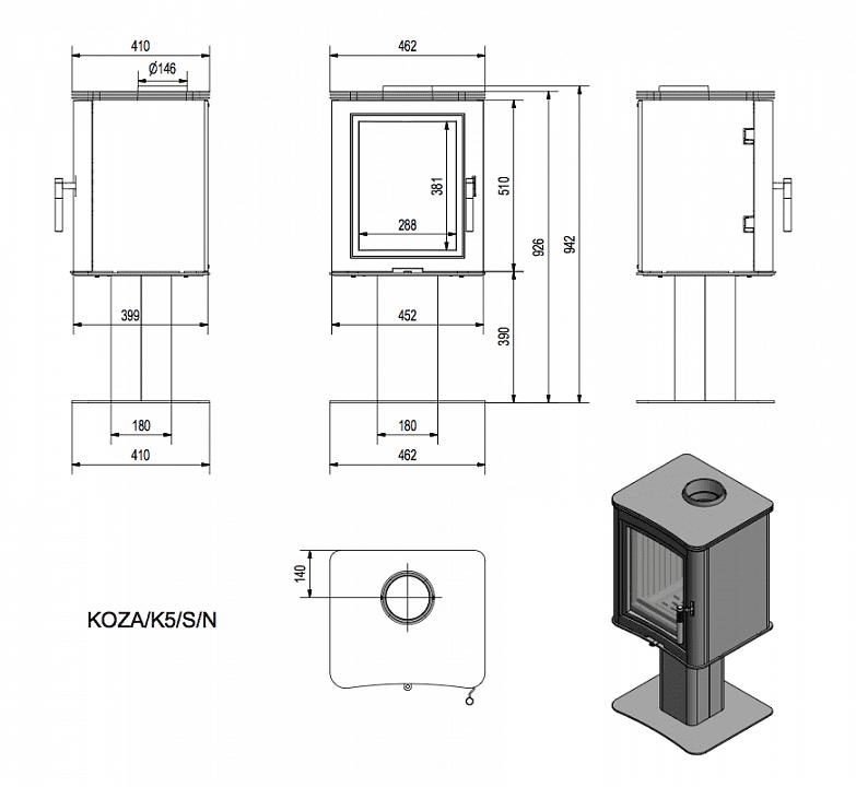 Печь-камин Kratki Koza K5/S/N