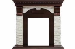 Каминный портал Royal Flame Dublin - Темный дуб / Сланец белый