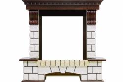 Угловой портал Royal Flame Pierre Luxe угловой - Темный дуб / Белый