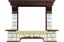Угловой портал Royal Flame Pierre Luxe угловой - Темный дуб / Белый (Ширина 1320мм)